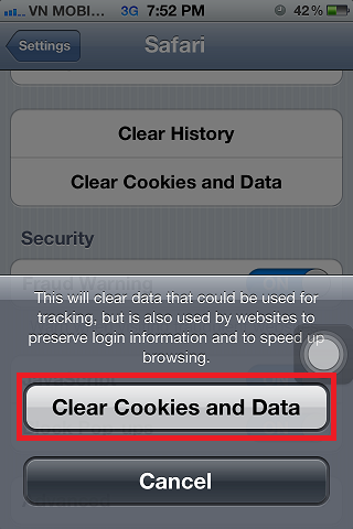 iPhone 4s Confirm Clear Cookies And Websites Data
