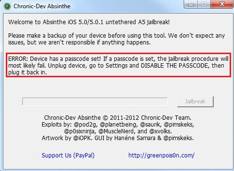 Chronic-Dev Absinthe Passcode Warning