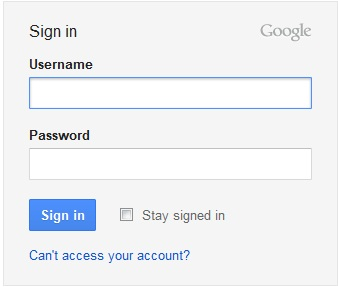 Google Mail login page