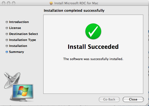 Install Microsoft RDC for Mac Install Succeeded
